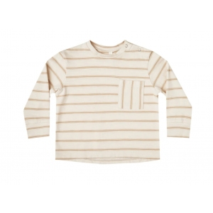 Striped Longsleeve Skater Tee Almond-Natural van Rylee & Cru