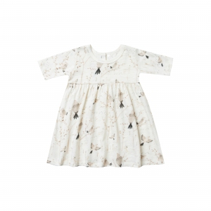 Winter Birds Finn Dress Ivory  van Rylee & Cru