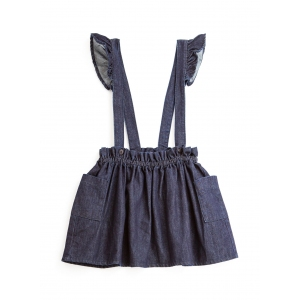 Denim Mini Skirt With Straps Blue van Tocoto Vintage