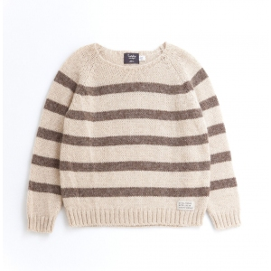 Striped Knitted Cardigan Brown van Tocoto Vintage