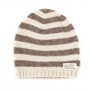 Striped Knitted Hat Brown van Tocoto Vintage